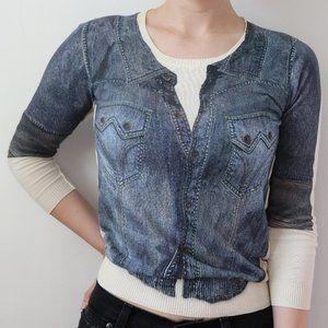 Dolce & Gabbana Denim Print Sweater Top